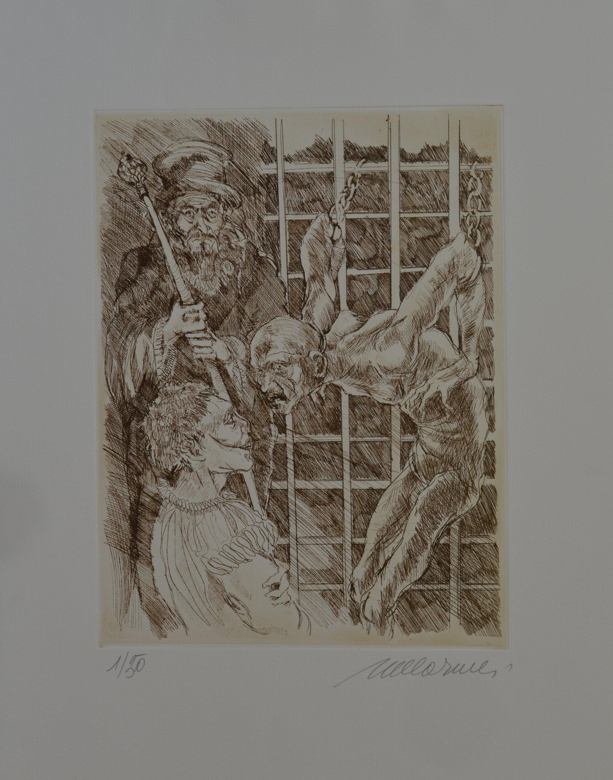 un quadro raffigurante i fondali del mare e una donna nuda che nuota sul dorso di un pesce Marlin