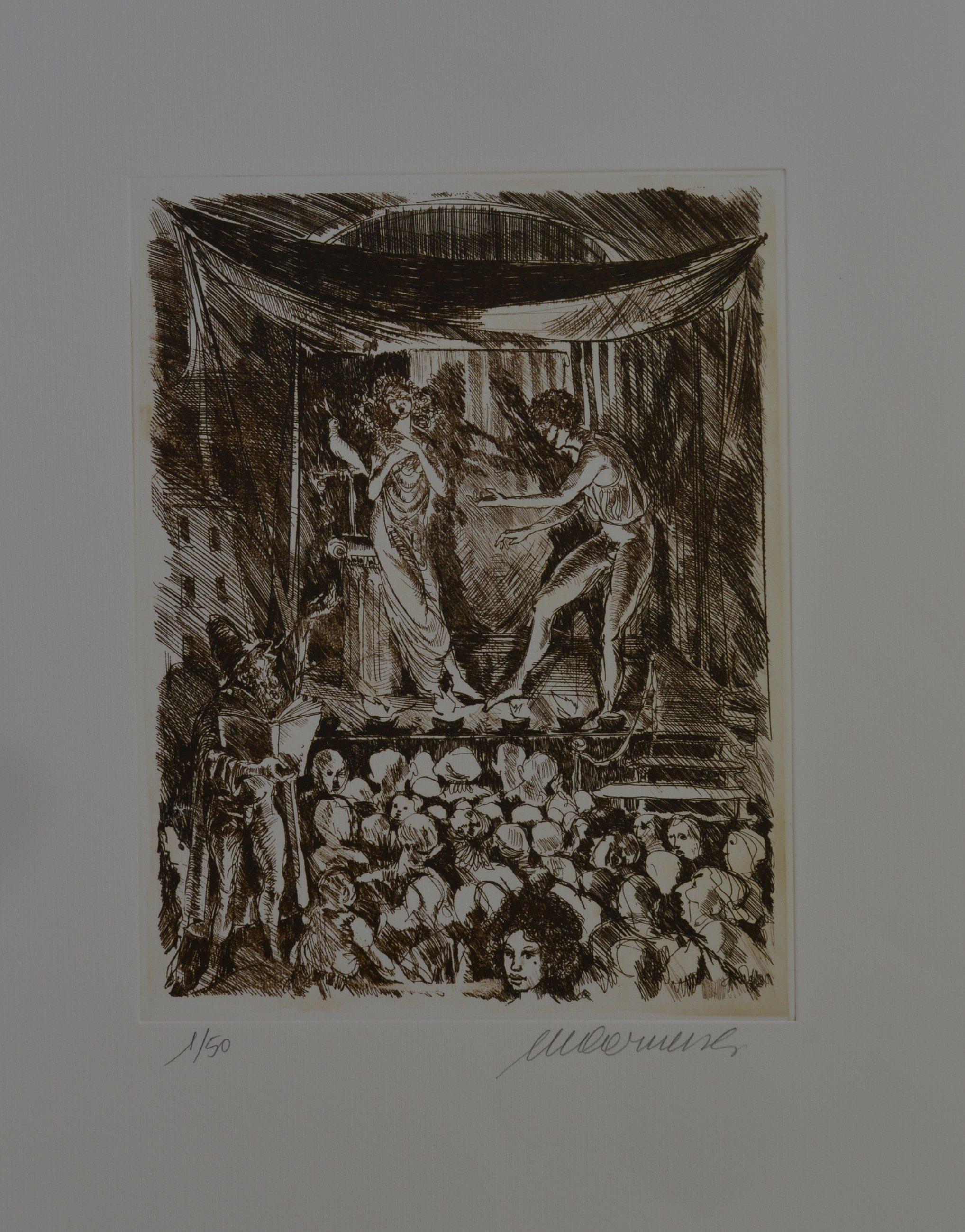 un quadro a sfumature di una donna mezza svestita e un uomo diavolo  con la barba che suona un piffero