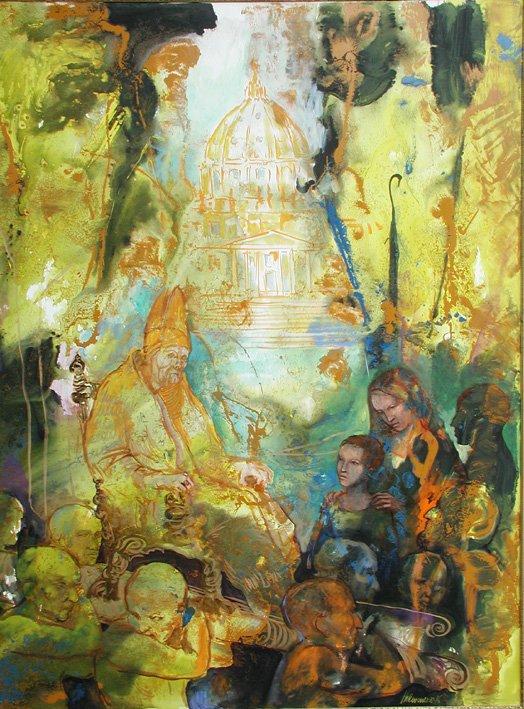 Dipinto di una coppia anziana con un neonato e a fianco una coppia più giovane