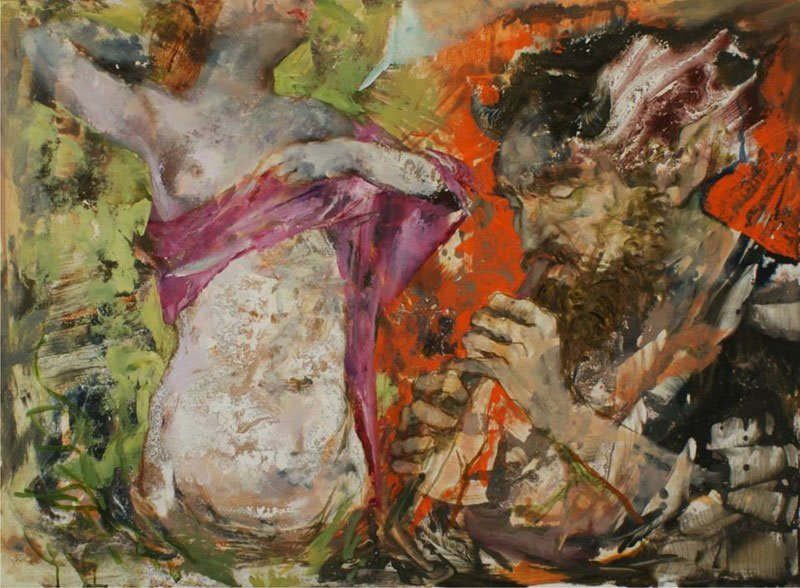 un quadro a sfumature turchesi e nere di due donne che tirano delle funi