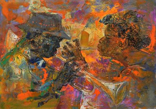 Dipinto di due trombettisti