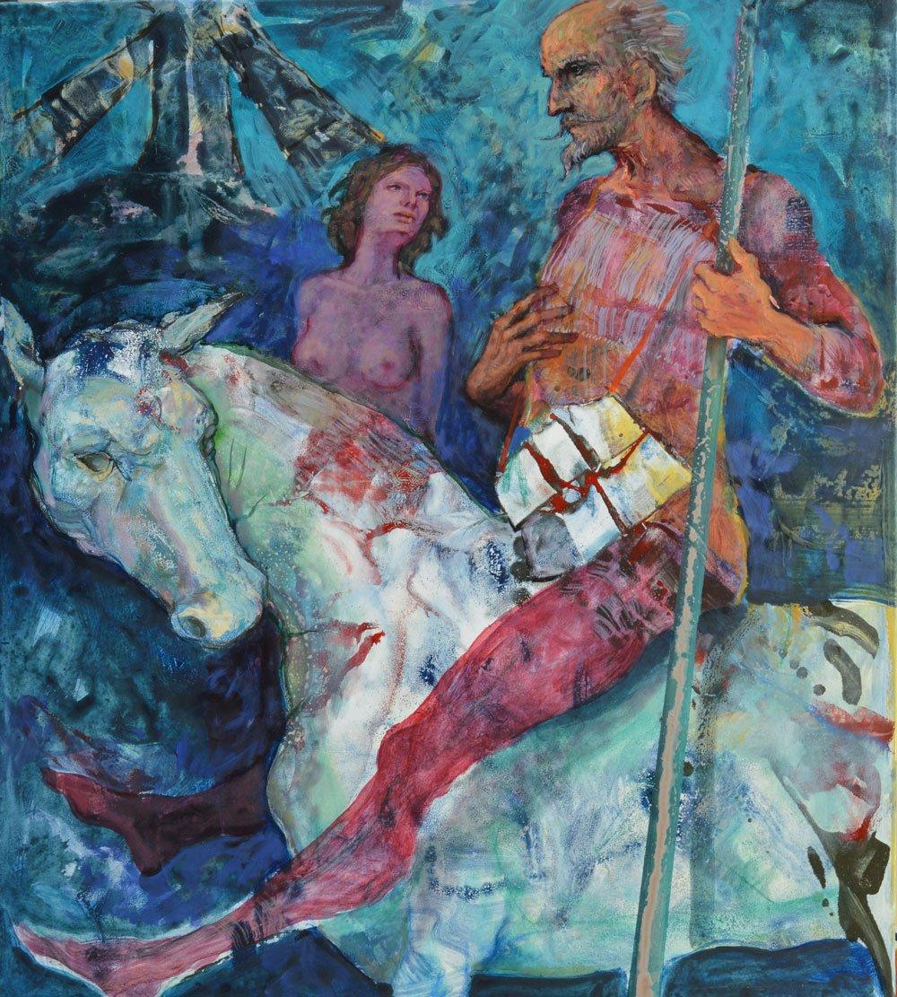 Dipinto di un uomo a cavallo e a fianco donna nuda
