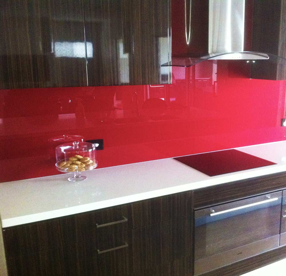 red glass splashback