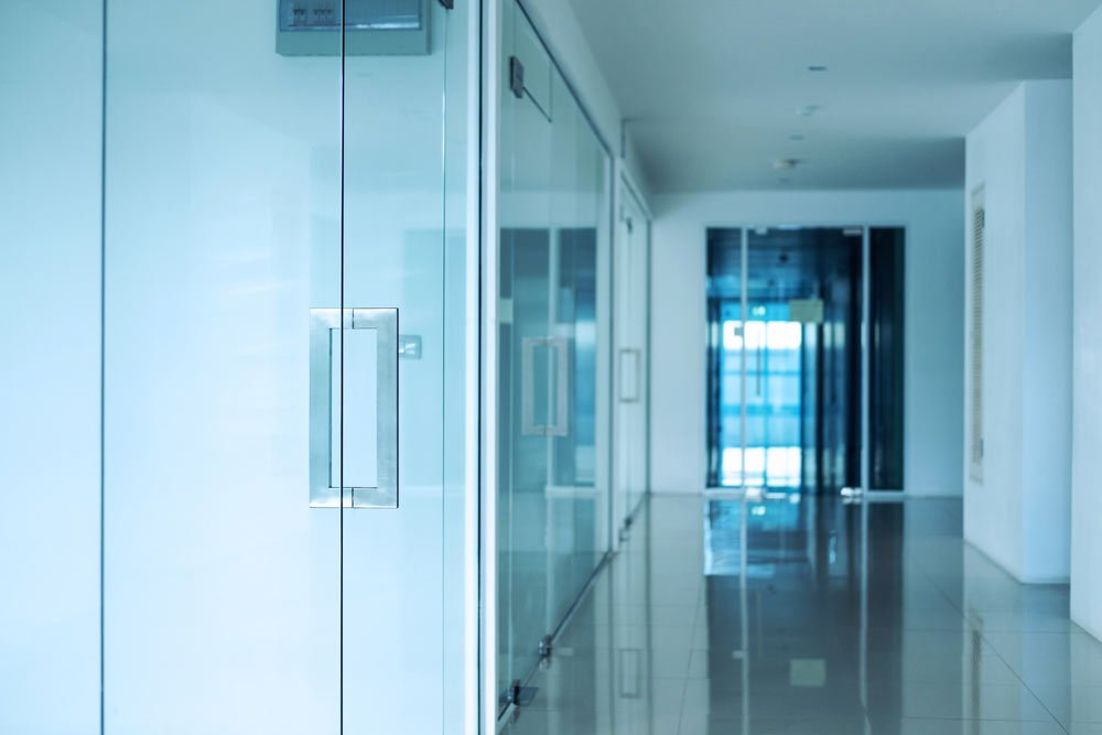 glass door and partition wall