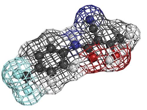 Teriflunomide multiple sclerosis drug, molecular model