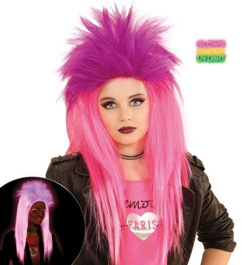 Parrucca de color rosa que brilla nella oscurità