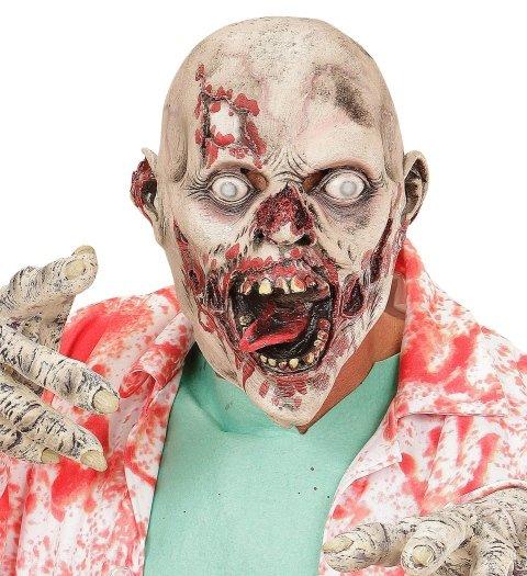 Maschera di testa con morsi,ferite,sangue e la lingua rossa