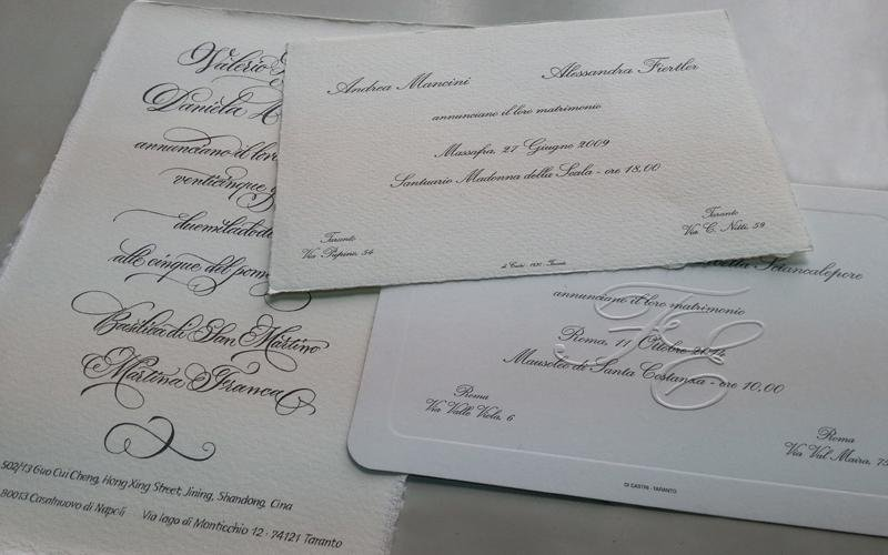 carta per partecipazioni nuziali