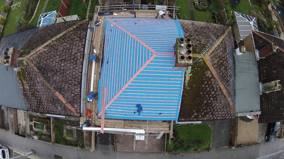 blue coloured roof