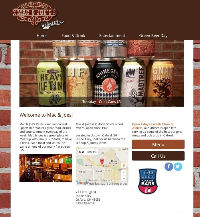 pub bar websites designed