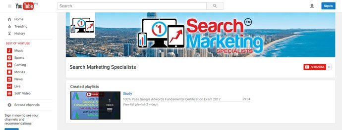 Search Marketing Specialists video production Youtube Channel