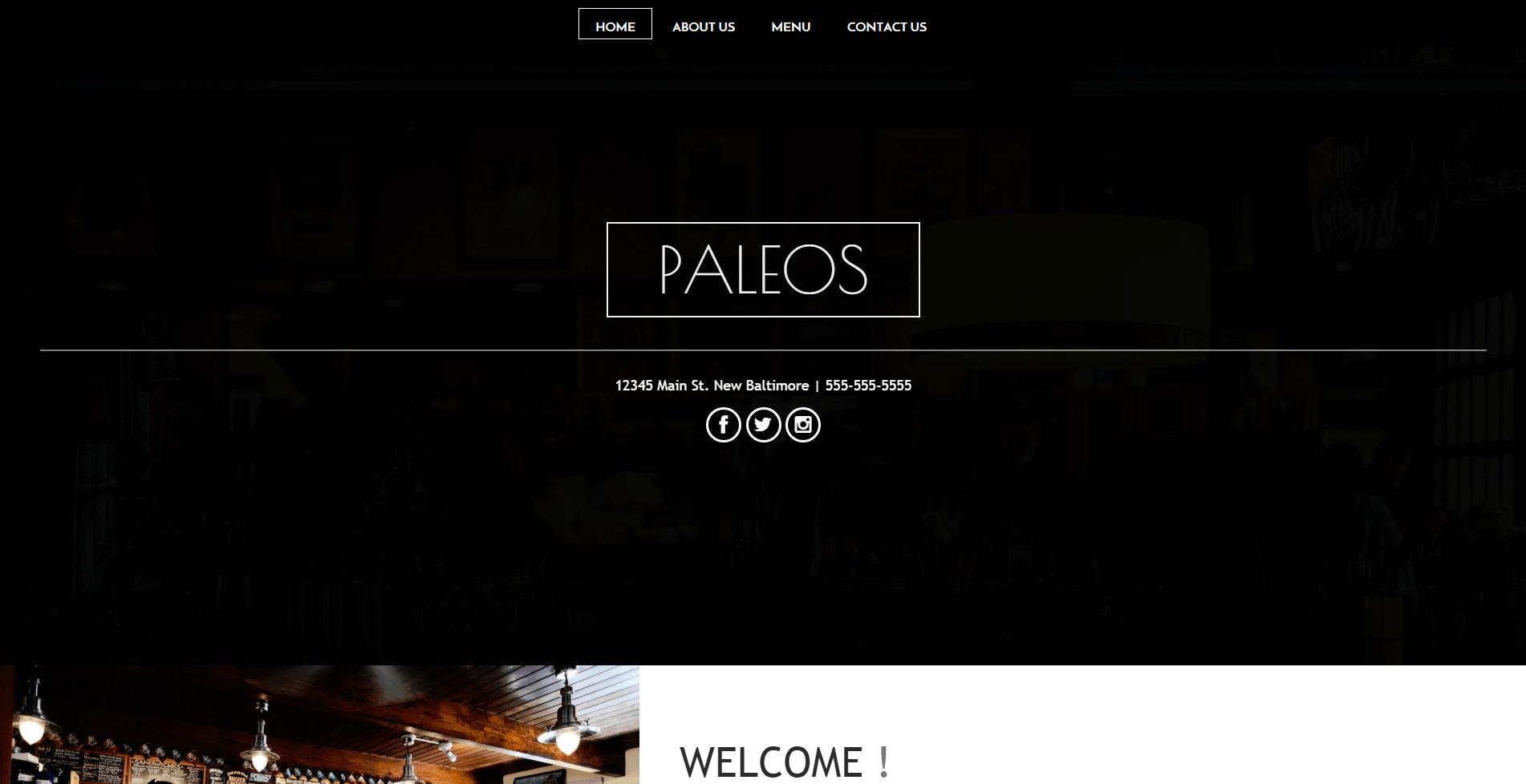 Cafeteria Restaurant Website