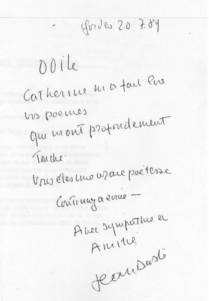 Temoignage de Jean Dasté à l'attention d'Odile Guyot