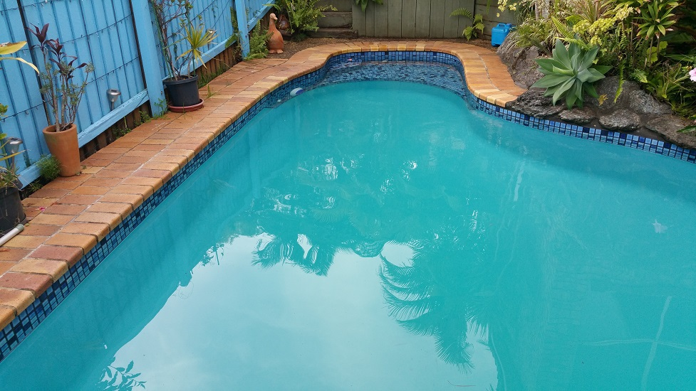 swimming pool  filled  ready for chemical balancing