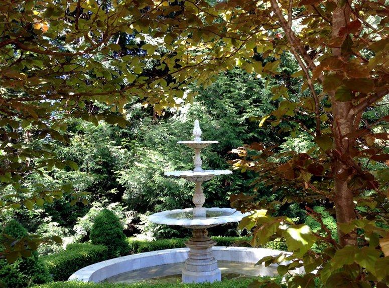 Water fountain in the blue mountain garden