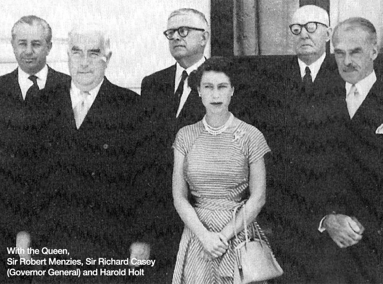 With the Queen, Sir Robert Menzies, Sir Richard Casey, and Harold Holt