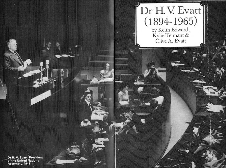 Dr HV Evatt president of teh UN assembly, 1948