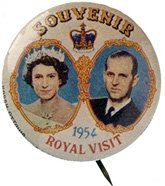 The Honourable Clive R. Evatt greets Her Majesty Queen Elizabeth II and HRH the Duke of Edinburgh at Leura Station; A 1954 Royal Visit souvenir button