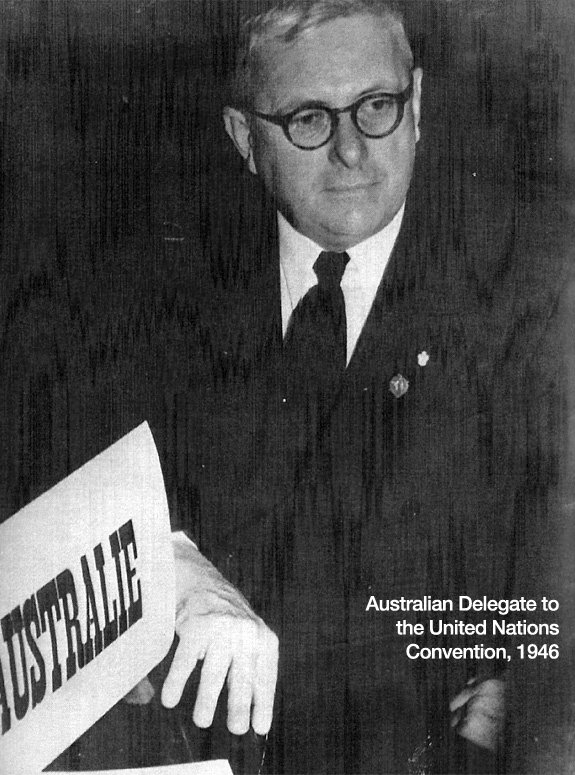 Australian delegate to the UN conventions, 1946