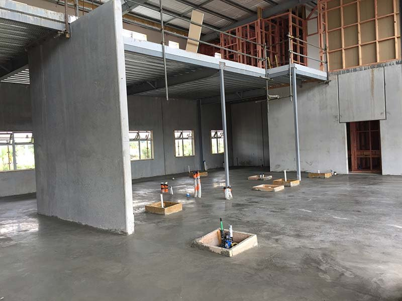 View of a freshly poured concrete floor