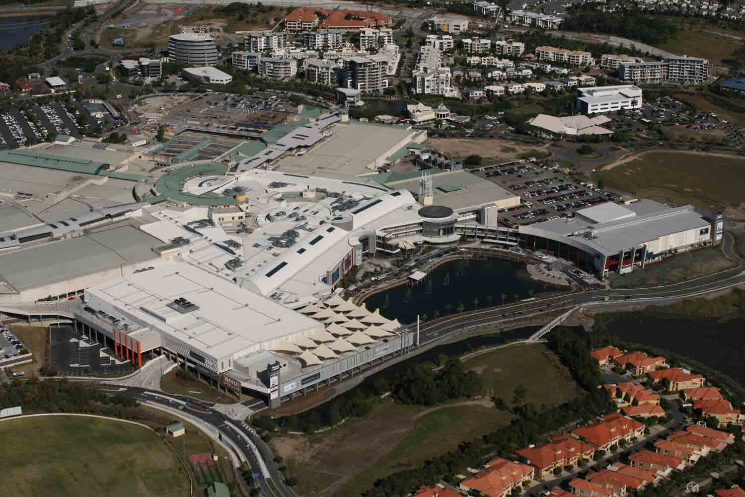 robina town centre aerial view