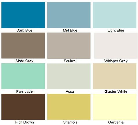 Color chart for swimming pool coating