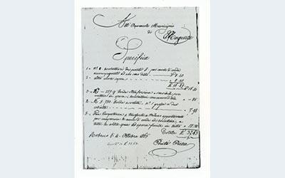 Fattura per il servizio di pompe funebri anno 1865