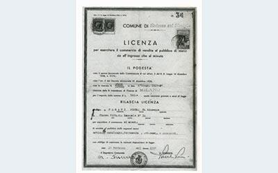 Licenza rilasciata dal Podestà