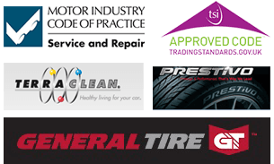 Logos of affiliated brands - General Tire, TerraClean, and more