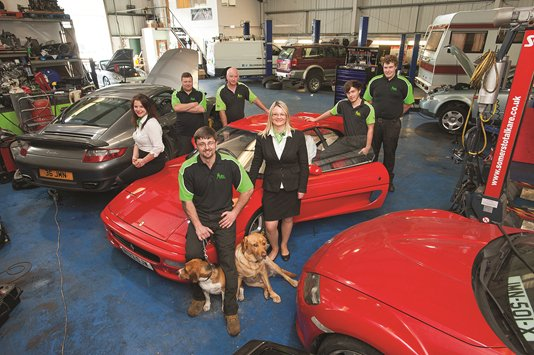 Our vehicle repair team at our garage in Douglas