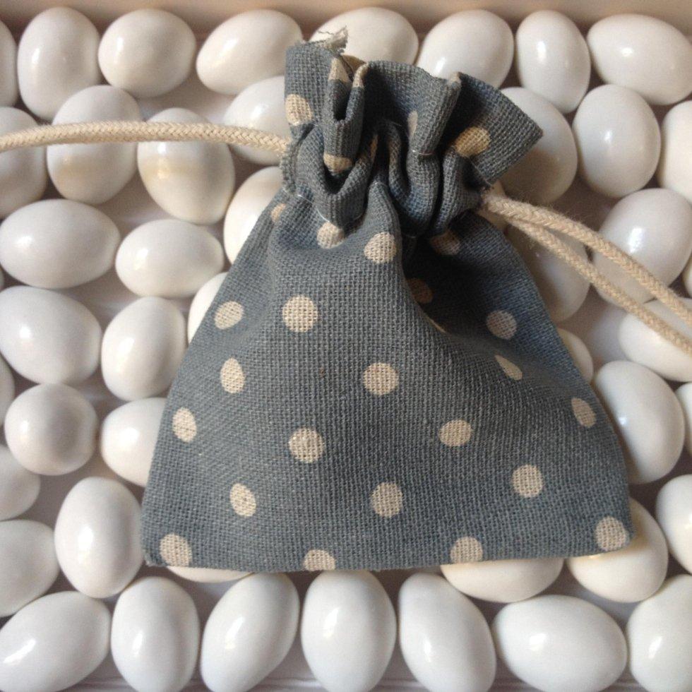 sacchetto grigio a pois bomboniera