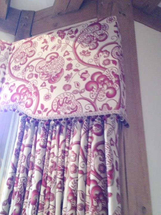 Patterned curtain and matching pelmet