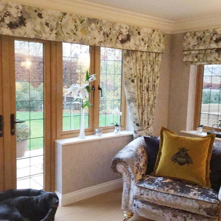 Flower patterned curtains and blinds