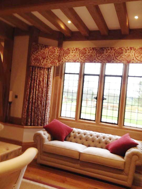 Textured and patterned window curtains with matching pelmet