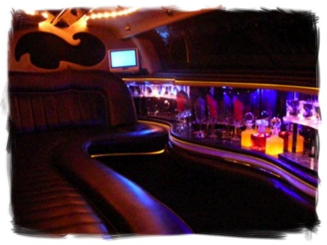 "interior of a Lincoln Towncar 120"" super stretch limousine"