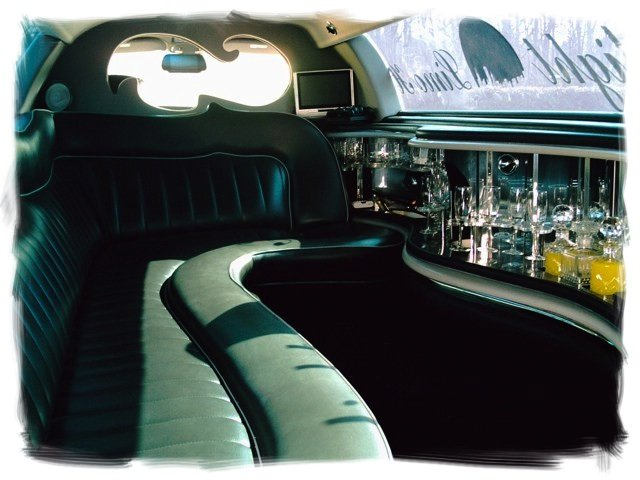 "seat of a Lincoln Towncar 120"" super stretch limousine"