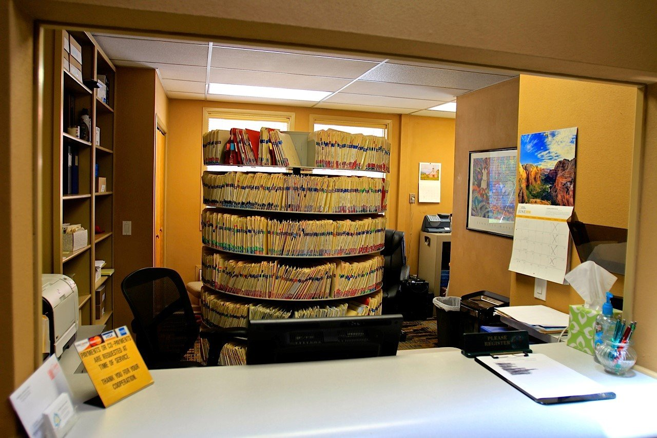Reception desk in dentist office