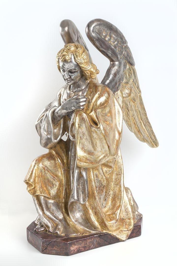 Angelo in preghiera argento e mecca sinistro lato