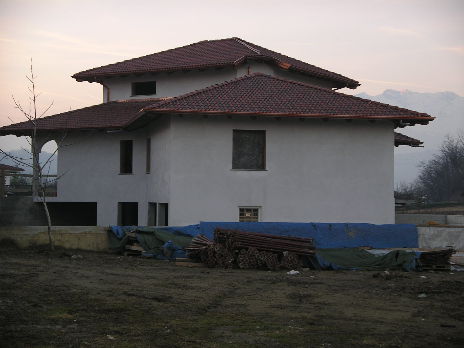 vista di una villa in costruzione