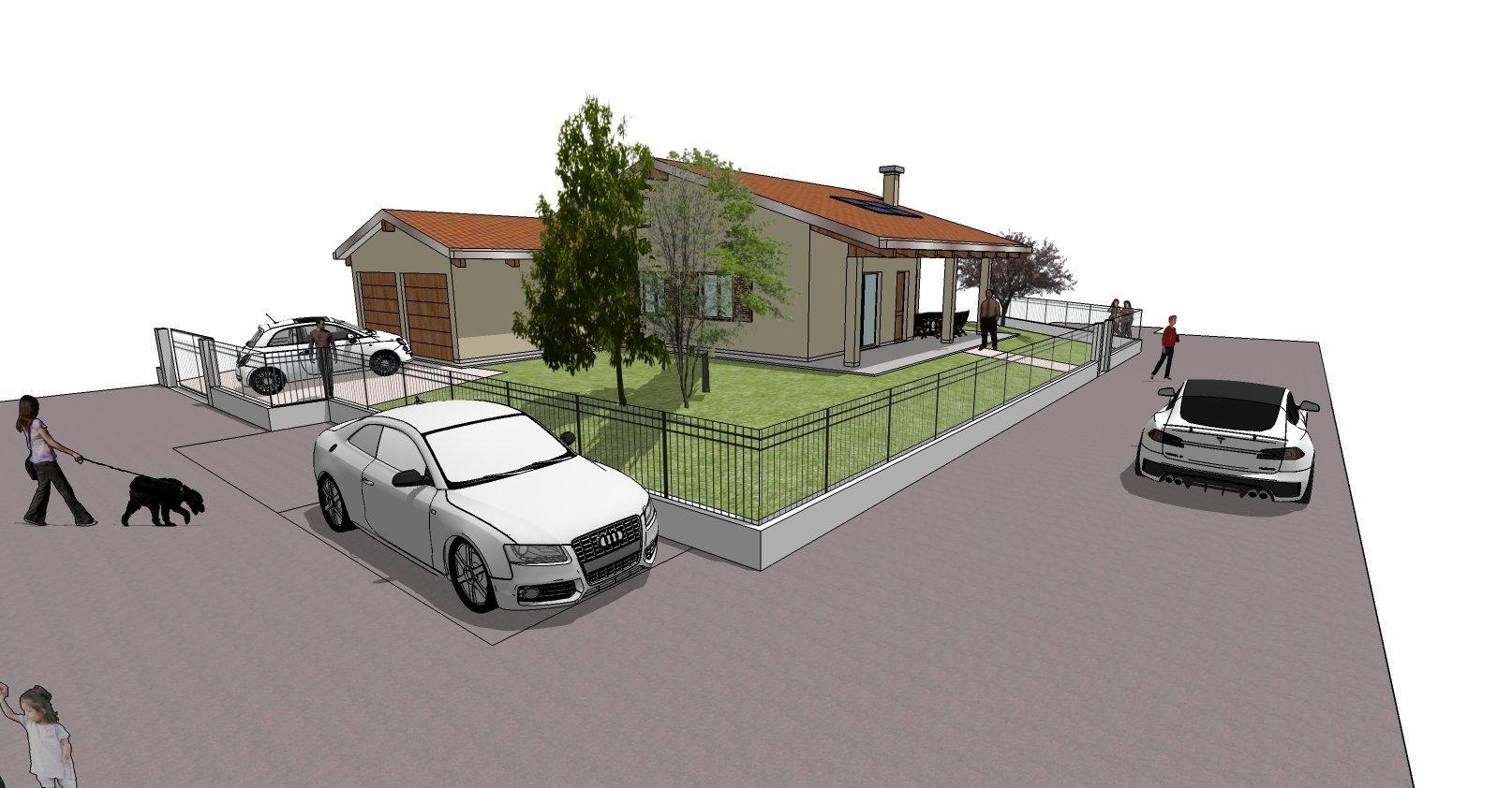 disegno bozza casa - parcheggio e strada