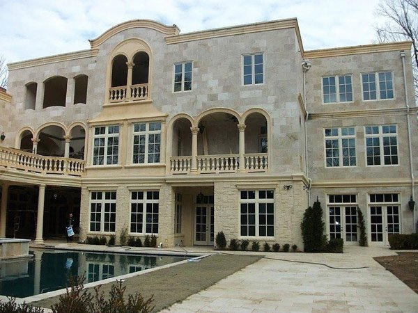 back porch and pool of mansion