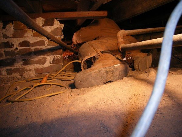 Paris Pressley examining crawlspace