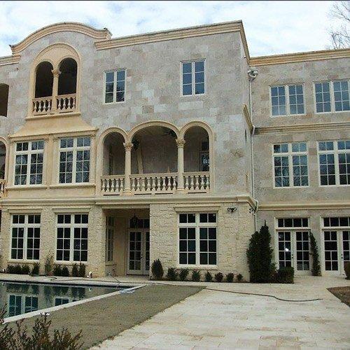 white tile house
