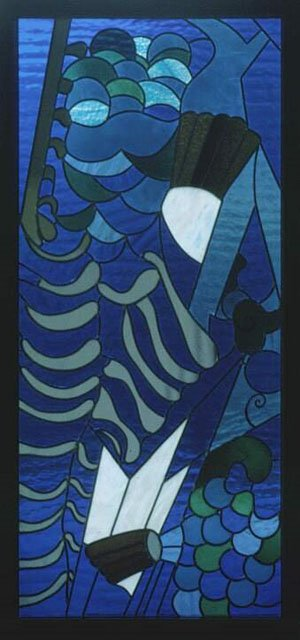 blue coloured design on glass