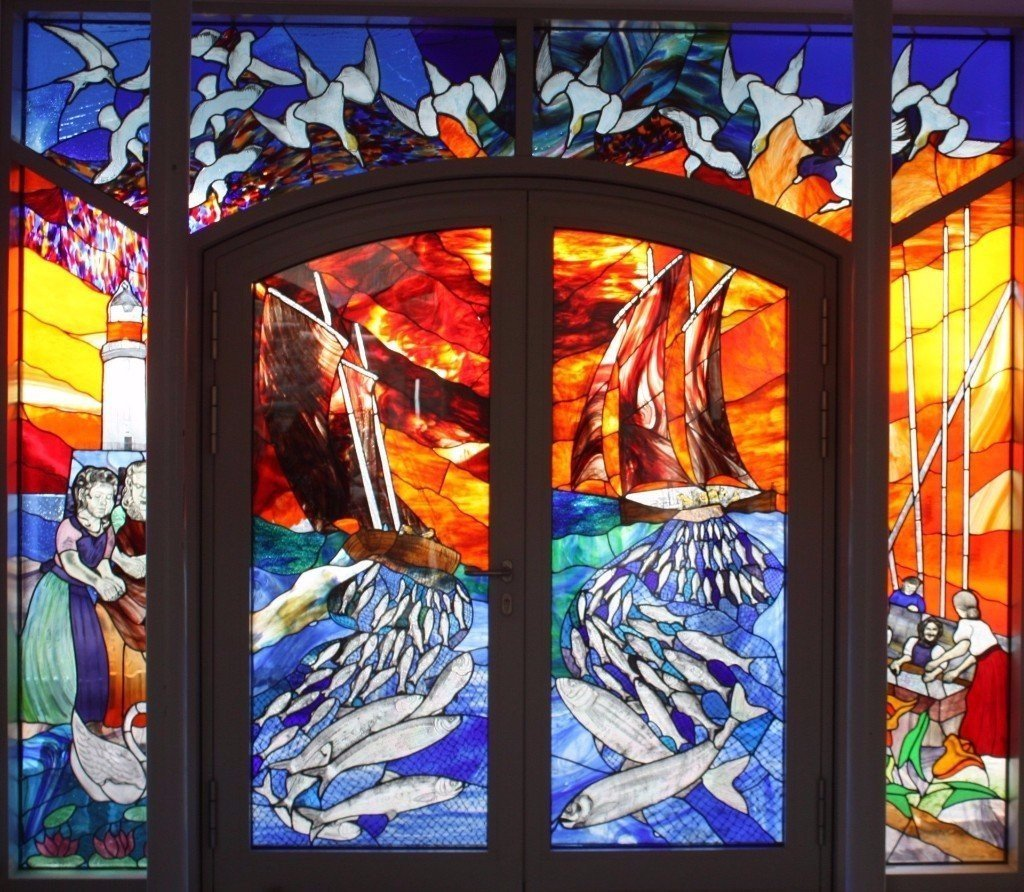 Private stained glass window commission for front door entrance