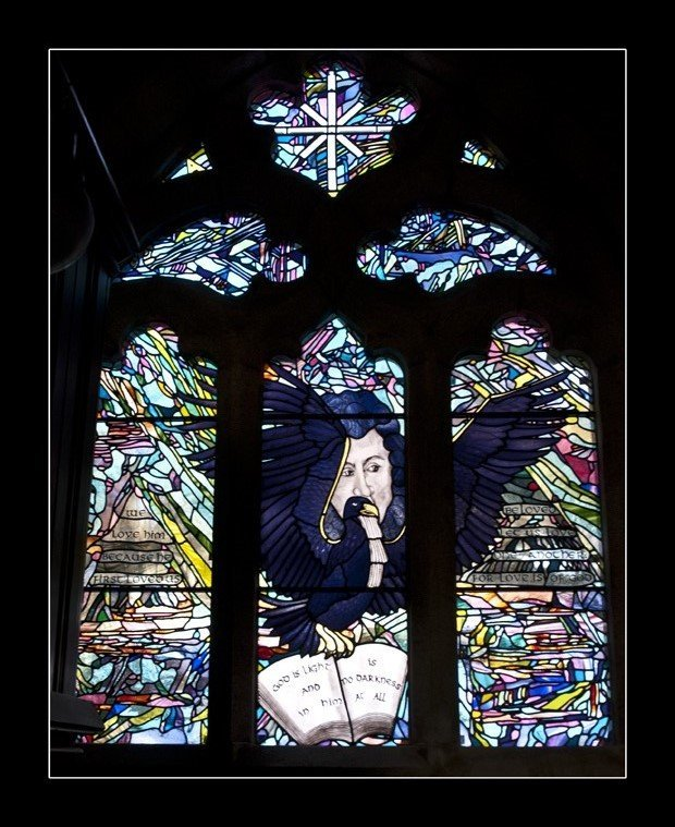 Church stained glass window commission