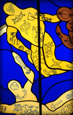 Human figures designed on a glass