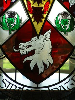 Stained glass window clan crest