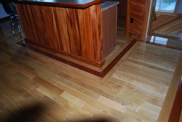 3.25'' Quarter Sawn White Oak With American Cherry Border Wood Floor Installation Manchester & Concord, NH