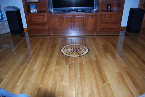 3.25'' Quarter Sawn White Oak With Custom Medallion Wood Floor Installation Manchester & Concord, NH